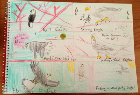 Kaya and I make an eagle cartoon of our day. She's the left. I'm the right. Yes, I know, hers is better :)