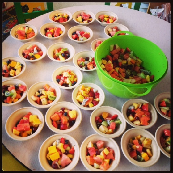 Smart teacher has all the kids help create a Friendship Fruit Salad to teach lessons of love, friendship and cooperation.